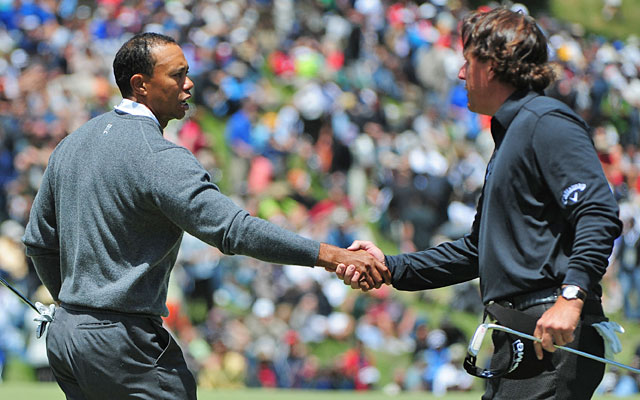 Tiger Woods finishes seven shots up on Phil Mickelson; 'It was impressive,' says Lefty. (US Presswire)