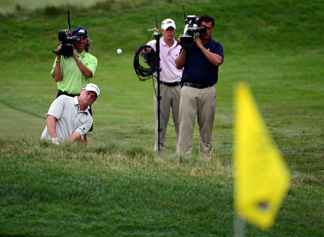 Greenbrier's eventual winner gets his first taste of media scrutiny in Sunday's final round. (US Presswire)