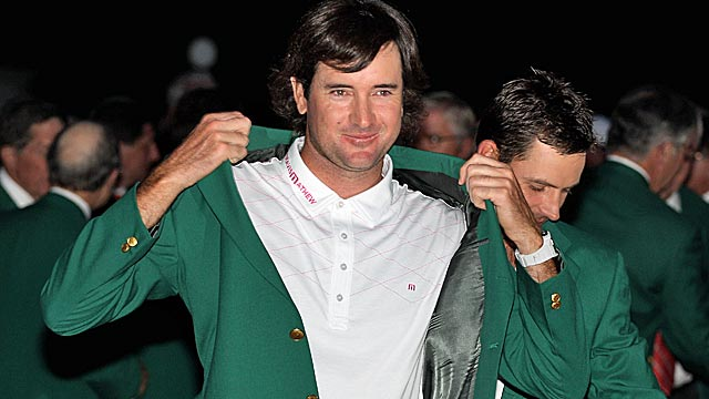 Bubba Watson somehow won a green jacket by dominating Augusta's par-3 holes. (Getty Images)