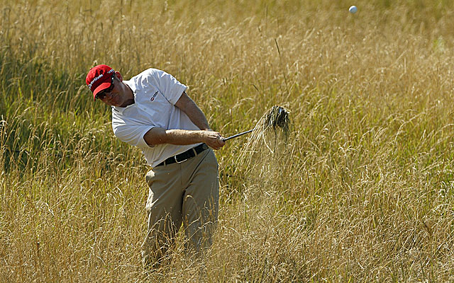 Matteson hits his way out of the deep rough on the 14th hole. (Getty Images)