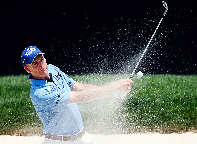 Furyk's four sand saves on the back nine help him maintain momentum on the leaderboard. (Getty Images)
