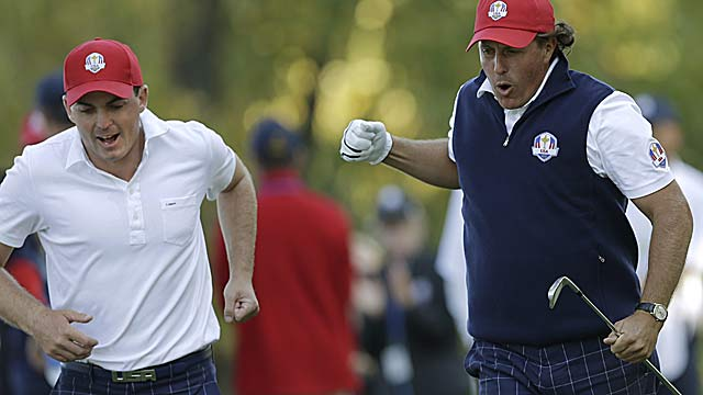 Rookie Keegan Bradley and Phil Mickelson defeat Rory McIlroy and Graeme McDowell 2 & 1. (AP)