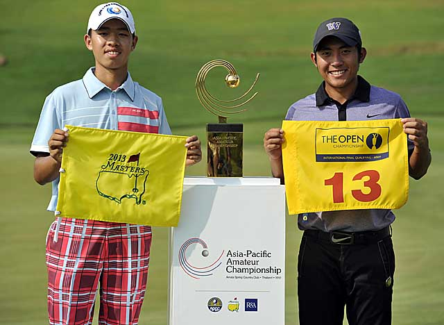 Guan, 14, will play at Augusta National in April; runner-up Pan Cheng-Tsung will play in the British Open (AP)
