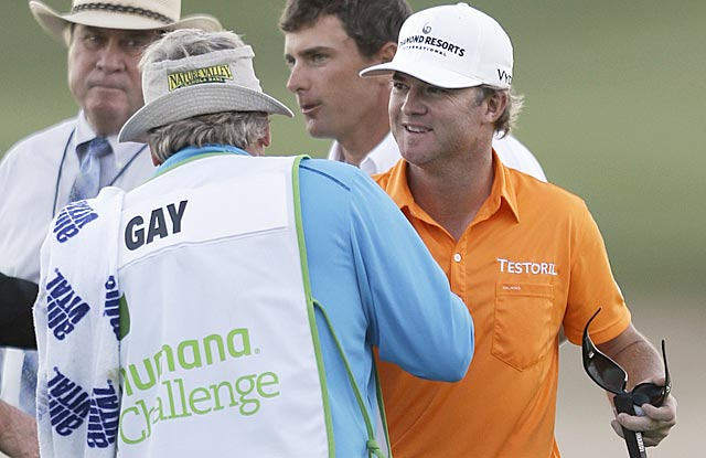 Brian Gay receives congratulations after clinching his four PGA Tour title. (AP)