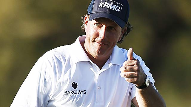 Phil Mickelson finishes one stroke off the tour record for the first two rounds of a tournament. (AP)