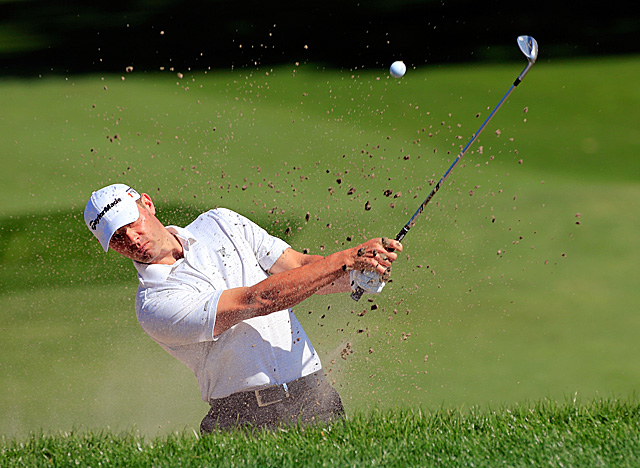 Innisbrook leader and rookie Shawn Stefani cards his first bogey on No. 7 on Friday. (Getty Images)