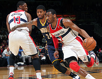 John Wall pours in 37 points in Washington's win over Indiana, making 16 of 25 shots. (Getty Images)