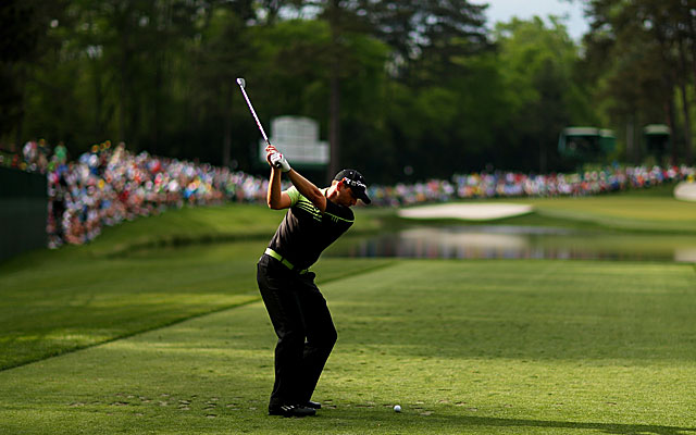 Sergio Garcia tees off on No. 16 en route to an opening-round 66 to share the lead with Marc Leishman. (Getty Images)