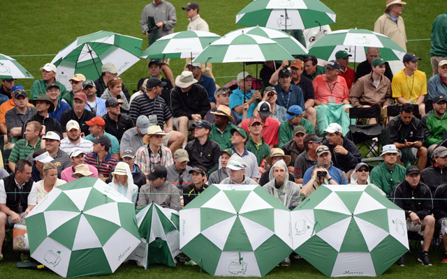 Patrons use umbrellas to stay dry at Augusta National. (USATSI)