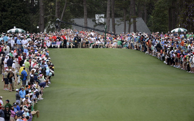 Large galleries of Patrons watch the 2013 Masters tournament.  (USATSI)