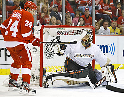 Anaheim goalie Jonas Hiller makes one of his 23 saves against the Wings. It is the third playoff shutout of Hiller's career. (USATSI)