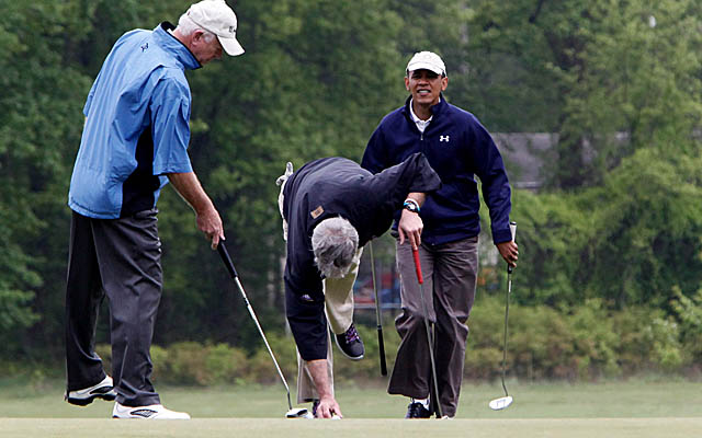 Sen. Saxby Chambliss (left) aced the par-3 11th at Obama's favorite course at Andrews Air Force Base. (Getty Images)