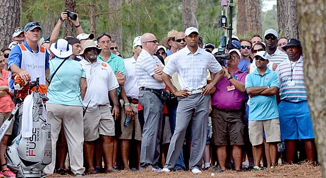 Tiger Woods prepares to hit from the rough at No. 2 in the third round. (USATSI)