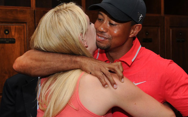 Tiger Woods and Lindsey Vonn celebrate the 2013 Players Championship. (Getty Images)