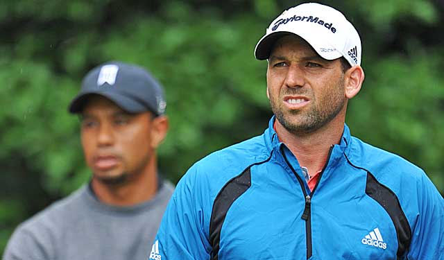 Sergio Garcia's weak attempt at humor later drew an apology to Tiger Woods. (Getty Images)