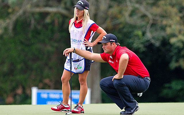 Patrick Reed, with his wife Justine caddying, birdies six holes in a bogey-free round. (USATSI)