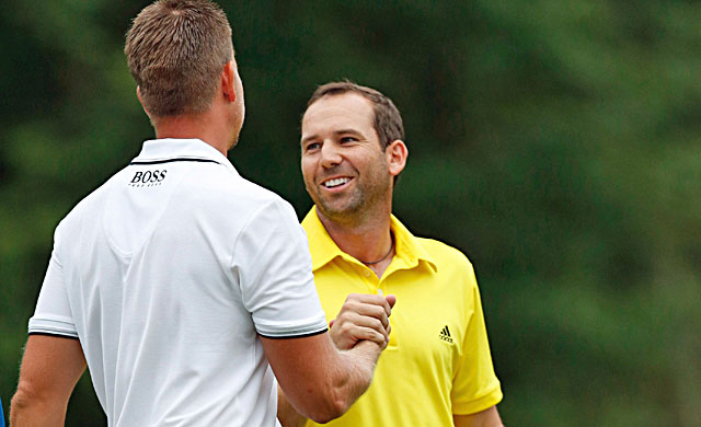 Sergio Garcia (right), who had a two-shot lead at the start of the final round, congratulates Henrik Stenson. (USATSI)