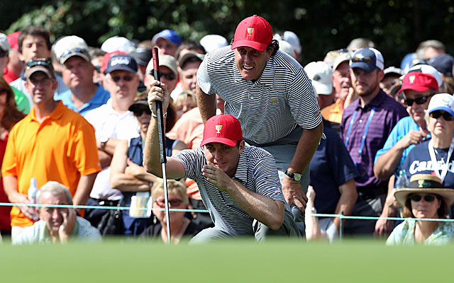 Phil Mickelson and Keegan Bradley pick up a win for the Americans on Friday at Muirfield. (USATSI)