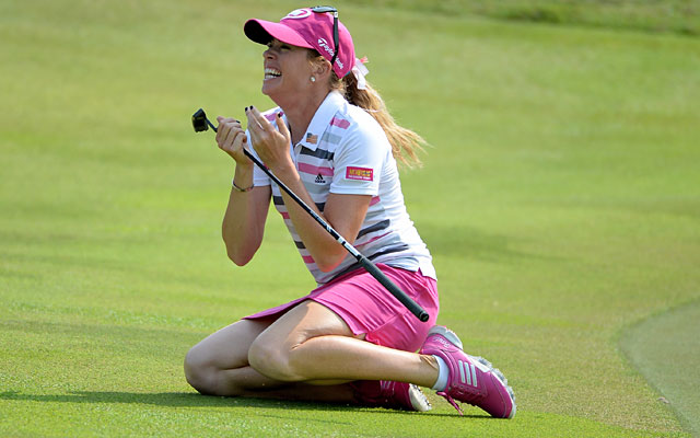 Paula Creamer celebrates after making a 75-foot eagle putt for her first title in four years. (Getty Images)