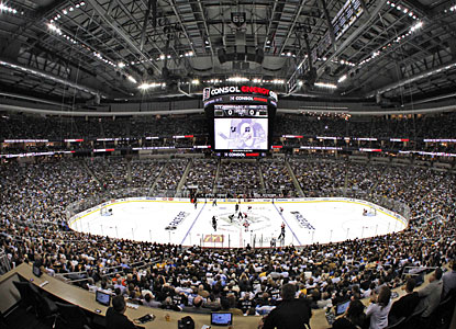 Just like at the Civic Arena (aka The Igloo) on Oct. 11, 1967, the Pens lose their first game at their new 18,087-seat arena. (AP)