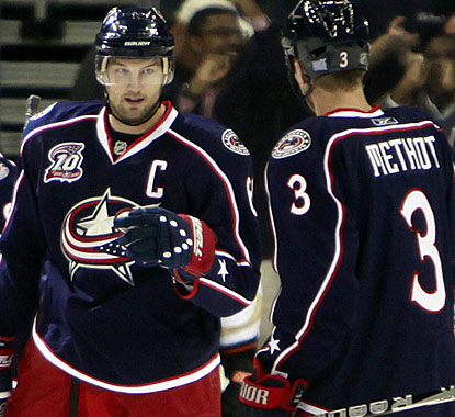 Rick Nash secures the victory for Columbus with his second goal of the game, a late empty netter. (AP)