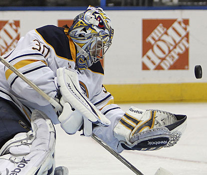It's a night Ryan Miller would like to have more often. The Sabres goalie only needs to make 17 saves in the win. (AP)
