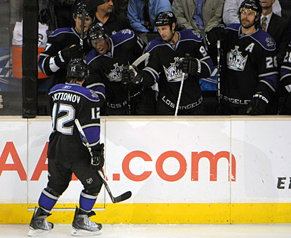 Andrei Loktionov, 20, gets all kinds of cheers from the Kings bench for his first career goal in the NHL. (US Presswire)