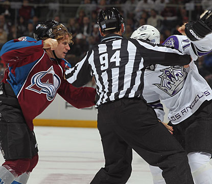 With plenty of goals scored, why not a fight, too. John-Michael Liles and Justin Williams trade some punches. (Getty Images)