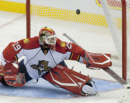 Tomas Vokoun is beaten by Milan Michalek (not shown), who is one of three Ottawa players with a goal and an assist. (AP)