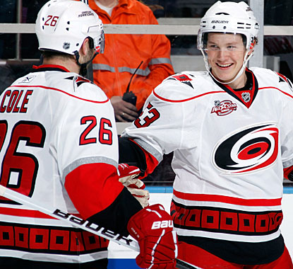 Jeff Skinner (right) has a fine game against the Rangers, with two goals and an assist on Erik Cole's power-play marker. (Getty Images)