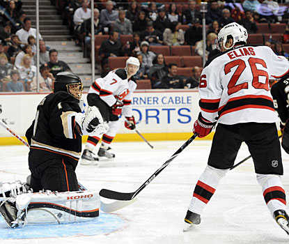 Patrik Elias benefits from a turnover and notches his second goal of the season for New Jersey. (Getty Images)