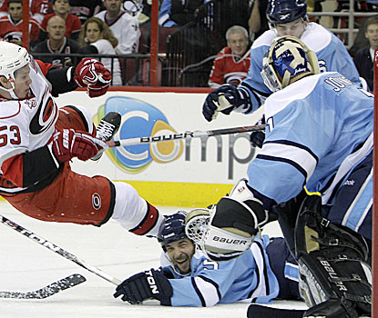 Brent Johnson is ranked second in the league in goals-against, and improves that with his 33-save shutout. (AP)