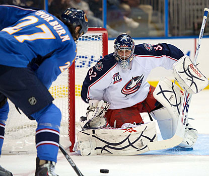 Mathieu Garon makes 25 saves for his third shutout at Philips Arena and improves to 5-0 against Atlanta. (US Presswire)
