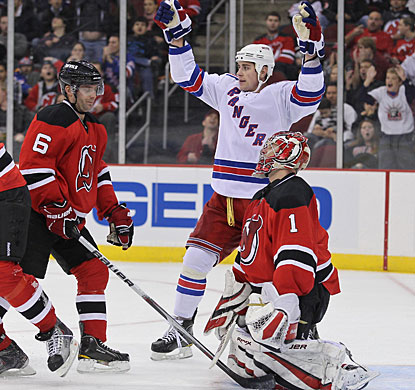 Brandon Dubinsky is tied for the league lead with 10 goals after scoring twice against the Devils. (US Presswire)