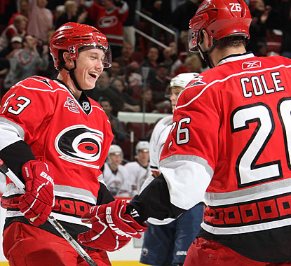 Rookie Jeff Skinner is nothing but smiles after setting up Erik Cole. Skinner also scores Carolina's seventh goal. (Getty Images)