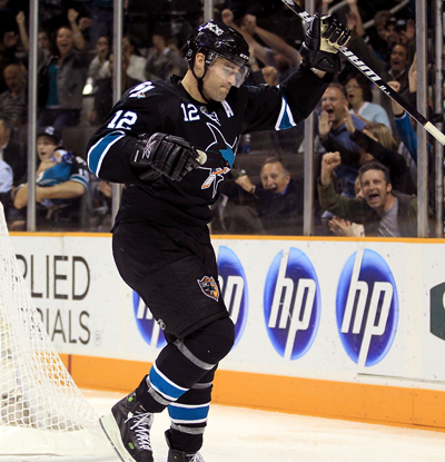 Patrick Marleau -- one goal and two assists -- celebrates after scoring against the Kings.  (Getty Images)