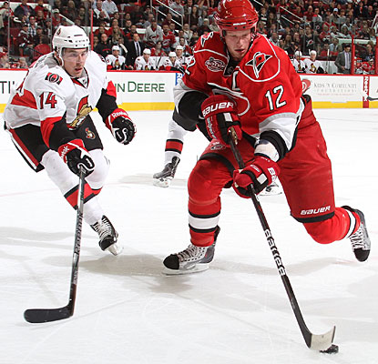Eric Staal's first of three goals in the game is also the 200th tally of his career. (Getty Images)