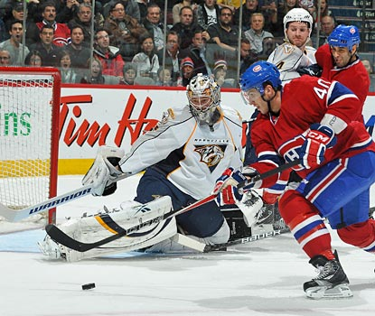 Rinne saves all 30 Canadiens shots on the night for the 16th shutout of his career.  (Getty Images)