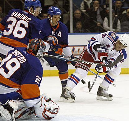 Marian Gaborik scores three times for the Rangers to tack on his 12th career hat trick. (AP)