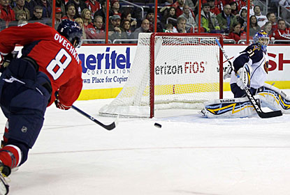 The only goal Ondrej Pavelec allows is to Alexander Ovechkin, who scores his first tally in nine games. (US Presswire)