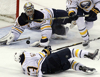 Ryan Miller stops all 32 shots in regulation as well as all attempts in the shootout to earn his second straight shutout. (AP)
