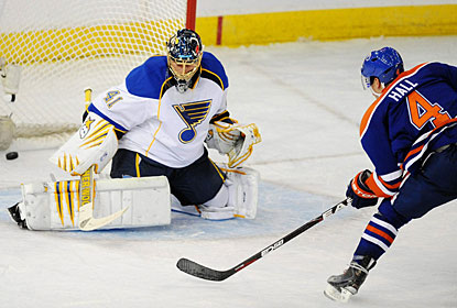Taylor Hall escapes on a breakaway and shoots the puck past Jaroslav Halak for his ninth goal. (AP)