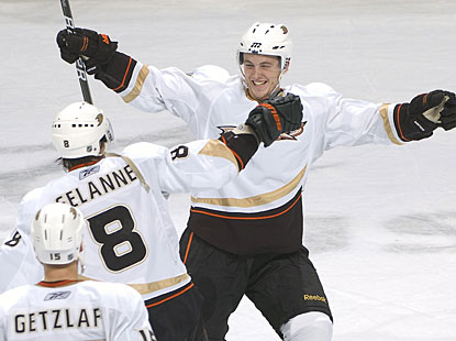 Belated Happy Birthday, Cam Fowler! Fowler, who turned 19 Sunday, celebrates his winner in the 10th shootout round. (Getty Images)