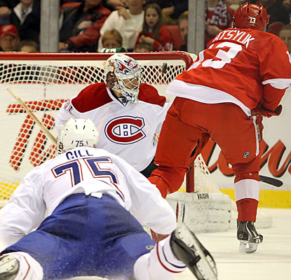 Pavel Datsyuk goes backhand and top shelf to beat Carey Price for Detroit's third goal. (Getty Images)
