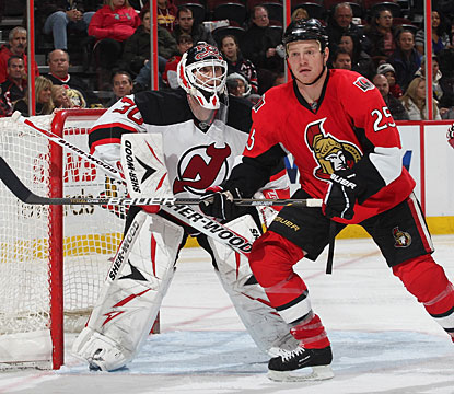Martin Brodeur stops 26 shots in his return after missing eight games, but it comes in a losing effort. (Getty Images)