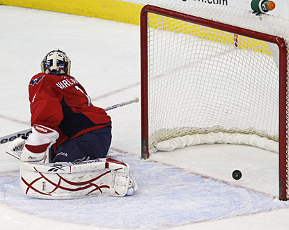 Semyon Varlamov reacts too late on Ryan Getzlaf's shot with 57 seconds left in overtime. (US Presswire)