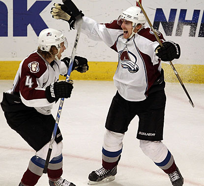 Tomas Fleischmann (right) is extremely happy after scoring his third goal to record his first NHL hat trick. (Getty Images)