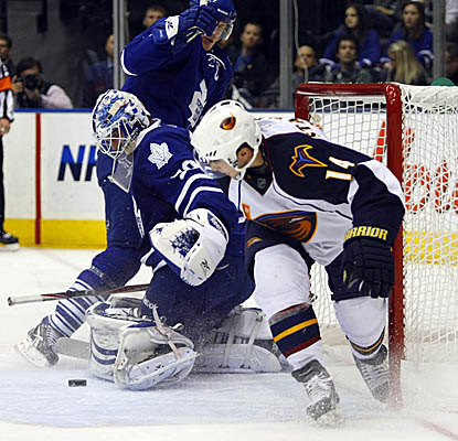 Leafs goalie Jonas Gustavsson makes one of his 13 saves vs. the Thrashers on Monday. (US Presswire)