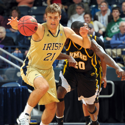 Tim Abromaitis hustles up and down the court while scoring 21 for the Irish.  (US Presswire)