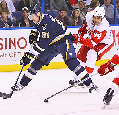 The Blues' Patrik Berglund nets two goals in a 4-3 win over Todd Bertuzzi and the Red Wings. (Getty Images)